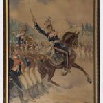 Gen.Dąbrowski na tle Legionów,akw/pap,wym.80x60cm,sygn.p.d